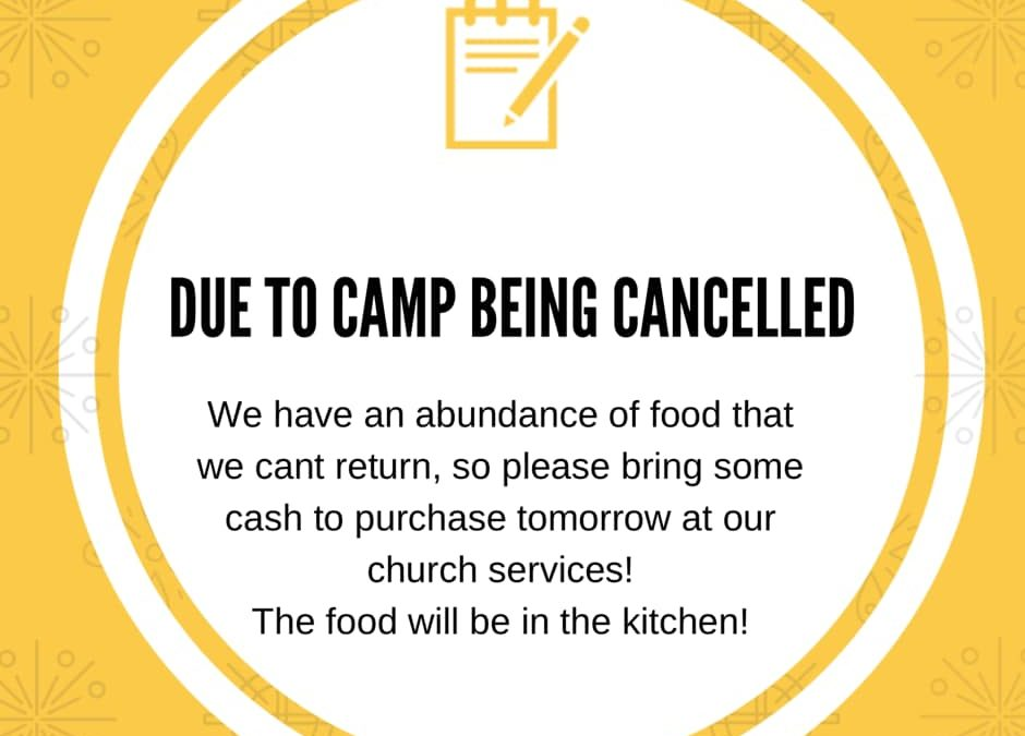 Due to the kids weekender camp being cancelled we have a lot of food that wasn't…