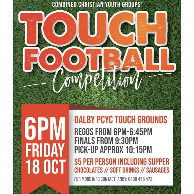 Youth tonight is at the touch grounds!