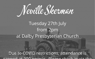 Neville Skerman's Memorial Service is this afternoon at 2pm.   Attendance is cap…